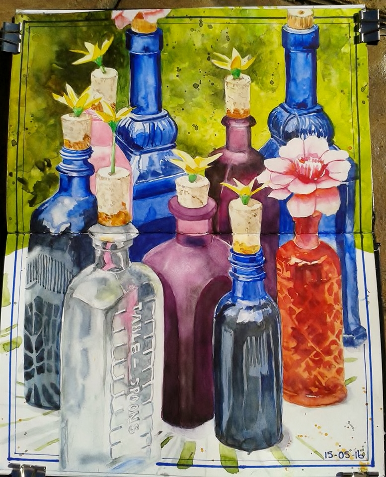 <b>Still Life Arrangement of Bottles</b>
